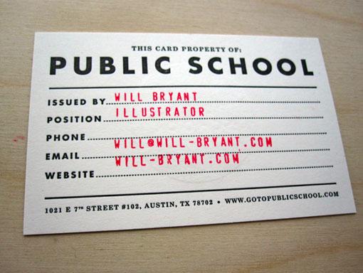 Will Bryant Public School business card