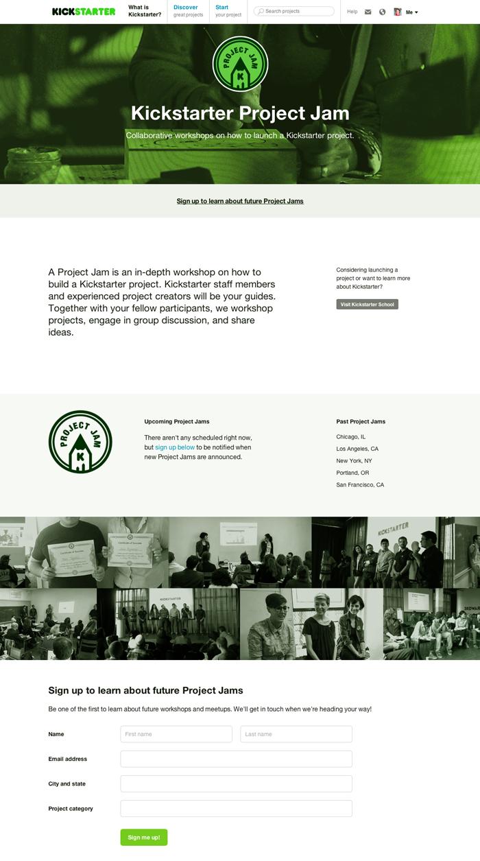 Kickstarter Project Jam event page