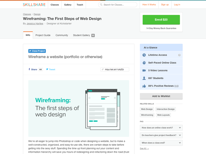 Speaking of learning something new, Jessica runs a SkillShare class called Wireframing: The first steps of web design