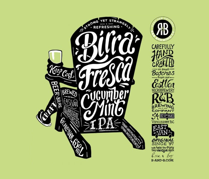 R & B Brewing Co. / Beer label - Birra Fresca Cucumber Mint IPA