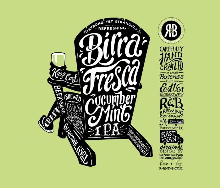 R & B Brewing Co. / Beer label - Birra Fresca Cucumber Mint IPA