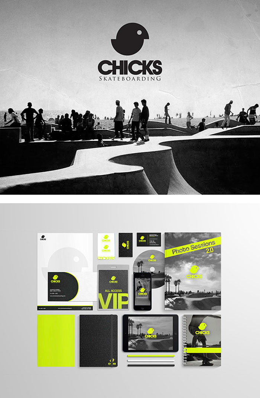 Gerardo Martinez Rivera / Branding concept - Chicks Skateboarding