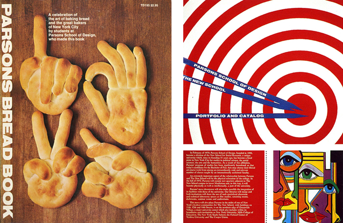 Clearly, Pineles was with Parsons during the '70s. Left: Parsons Bread Book (yearbook). Right: Parsons branding materials.
