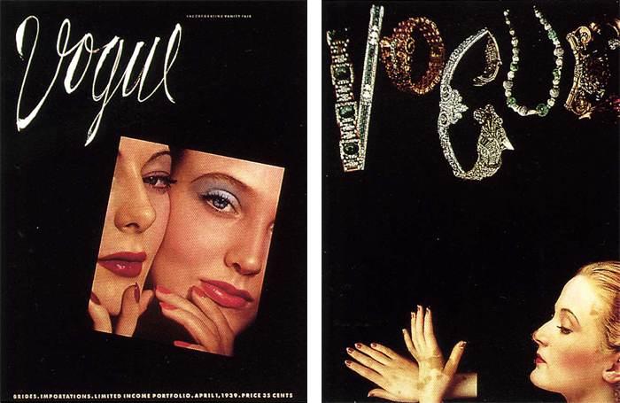 Back in the day, Vogue did not have a set-in-stone cover logo, so Pineles was free to experiment.