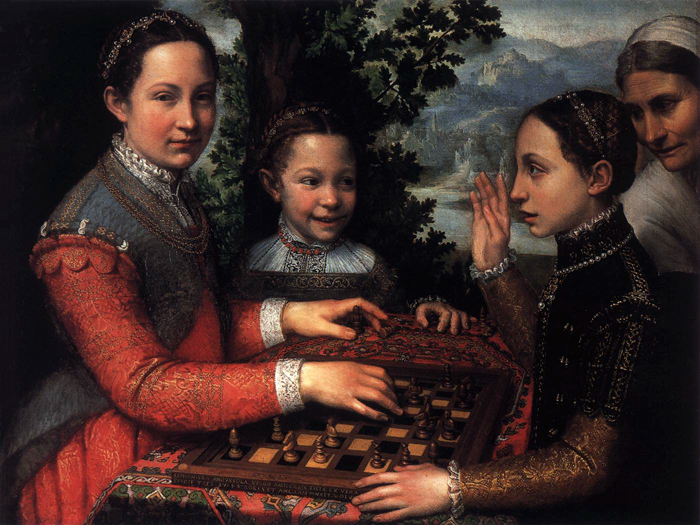 Portrait of the Artist's Sisters Playing Chess, 1555. This is one of Anguissola's most famous paintings, in which young women are depicted as intellectuals.