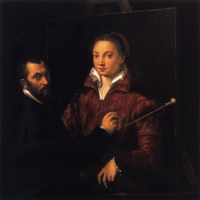 """Bernardino Campi Painting Sofonisba Anguissola"", 1559. The teacher/student, male/female roles in this painting are widely discussed."