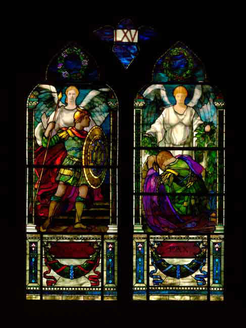 "Stained glass at the Memorial Hall, Harvard University, 1900. The left side depicts ""honor"", the right, ""peace""."